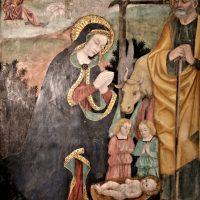 Natività di Gesù (affresco di scuola foppesca - sec- XVI) - Pala dell'altare