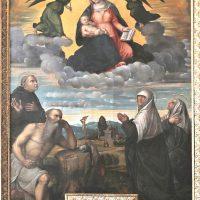 Incoronazione della Madonna delle Grazie con S. Girolamo, S. Eusebio, Santa Paola e Santa Eustachio, di Paolo da Cailina (1° altare a sinistra)