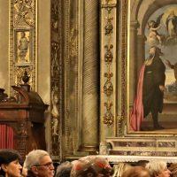 Pala dell'altare laterale con Anna e Gioacchino che contemplano l'Immacolata