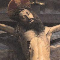 Particolare del Crocifisso (legno intagliato dipinto - sec. XVII)