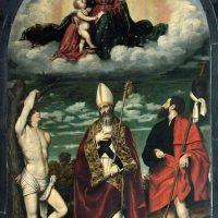 Madonna col Bambino, S. Martino, S, Sebastiano e S. Rocco, della scuola del Moretto (altare in testa alla navata destra)