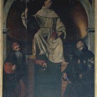 S. Antonio di Padova con S. Antonio abate e S. Nicola da Tolentino, copia del Moretto eseguita da Schermini (4° altare a destra)
