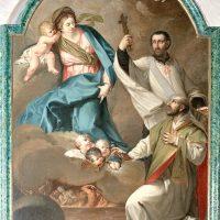 Madonna con Gesù Bambino, S. Ignazio di Loyola, S. Francesco Saverio e anime purganti (vano accesso presbiterio basilica)