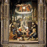 Adorazione dei pastori - Soasa e pala altare maggiore (copia del Moretto)