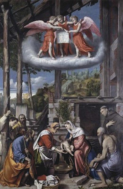 Moretto - Nascita di Gesù con S. Girolamo e un donatore girolimino